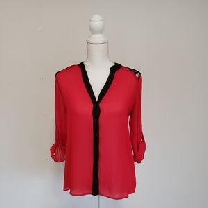 By&by red and black blouse w/lace back sz S